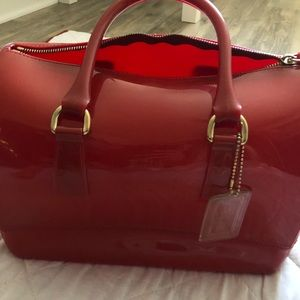 Authentic FURLA Red Candybag satchel w/dust cover